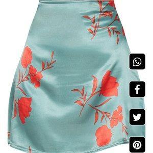Green Floral Satin A Line Mini Skirt